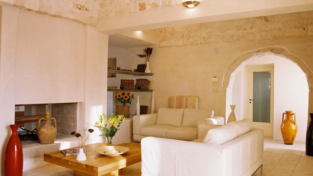 Living room and fireplace, Villa Santoro, Puglia