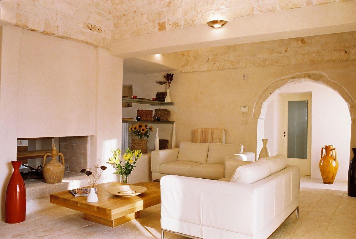 Living room and fireplace, Villa Santoro, Puglia